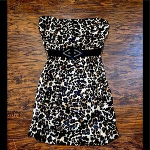 Strapless Sexy Leopard Animal Print Mini Dress